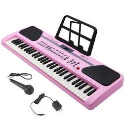 Black 61 Key Music Electronic Keyboard Electric Digital Pian