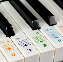 Color Piano Stickers for 49 /61/76/88 Key Keyboards Transpar