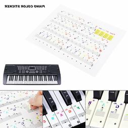 Color Piano Stickers for 49/61/ 76/88 Key Keyboards Keyboard