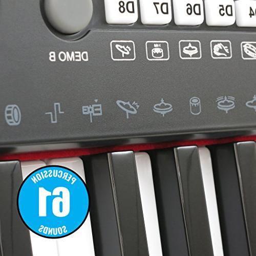 Plixio 61 Key Keyboard with Display, Stereo & Input- Portable Keyboard