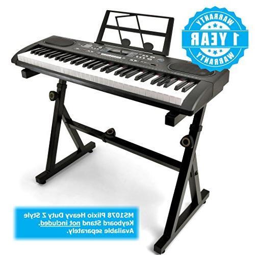 Plixio 61 Electronic Keyboard Piano Display, Input- Portable