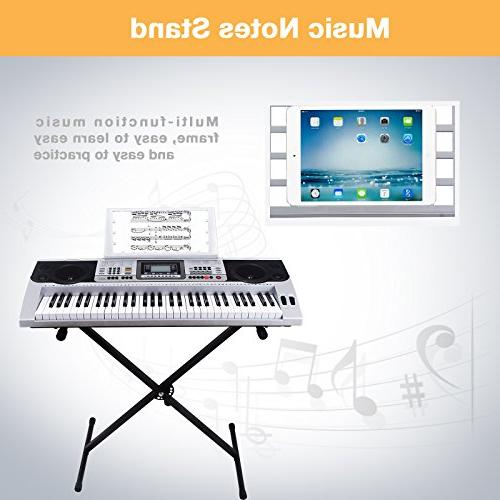 LAGRIMA Digital Electronic Keyboard Piano Portable Electric Musical Instrument with Stand Beginners
