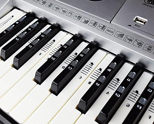 Piano Note Set Stickers for White and Keys with Piano EBook & Transparent Removable! - For Easy -100% Satisfaction Guarantee!