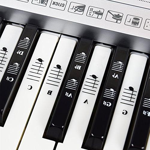 piano keyboard music note full set stickers white black keys