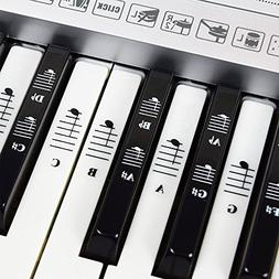 Piano and Keyboard Music Note Full Set Stickers for White an