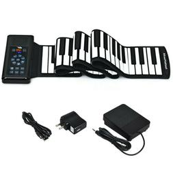 Portable 88 Keys Electronic Roll Up Piano Flexible Silicone